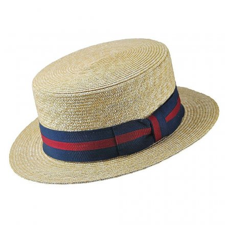 Hatut - Straw Boater Hat Striped Band (luonnollinen väri)