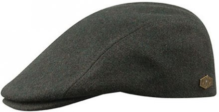 Flat cap - MJM Daffy Waterproof Wool (tummanvihreä)