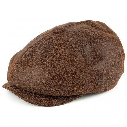Flat cap - Jaxon Hats Leather Newsboy Cap (ruskea)