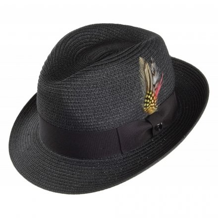 Hatut - Pinch Crown Straw Trilby (musta)