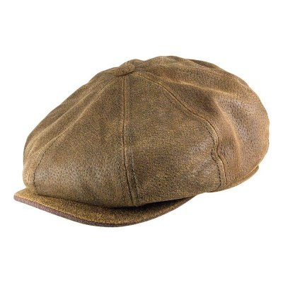 Flat cap - Stetson Burney Leather Flat Cap (ruskea)