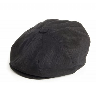 Flat cap - Jaxon Hats Pique Cotton Knit Newsboy Cap (musta)
