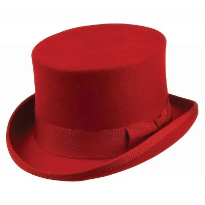 Hatut - Mid-Crown Top Hat (silinteri) (punainen)