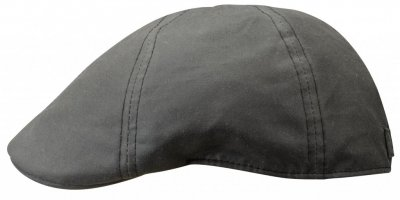 Flat cap - Stetson Texas Waxed Cotton (musta)